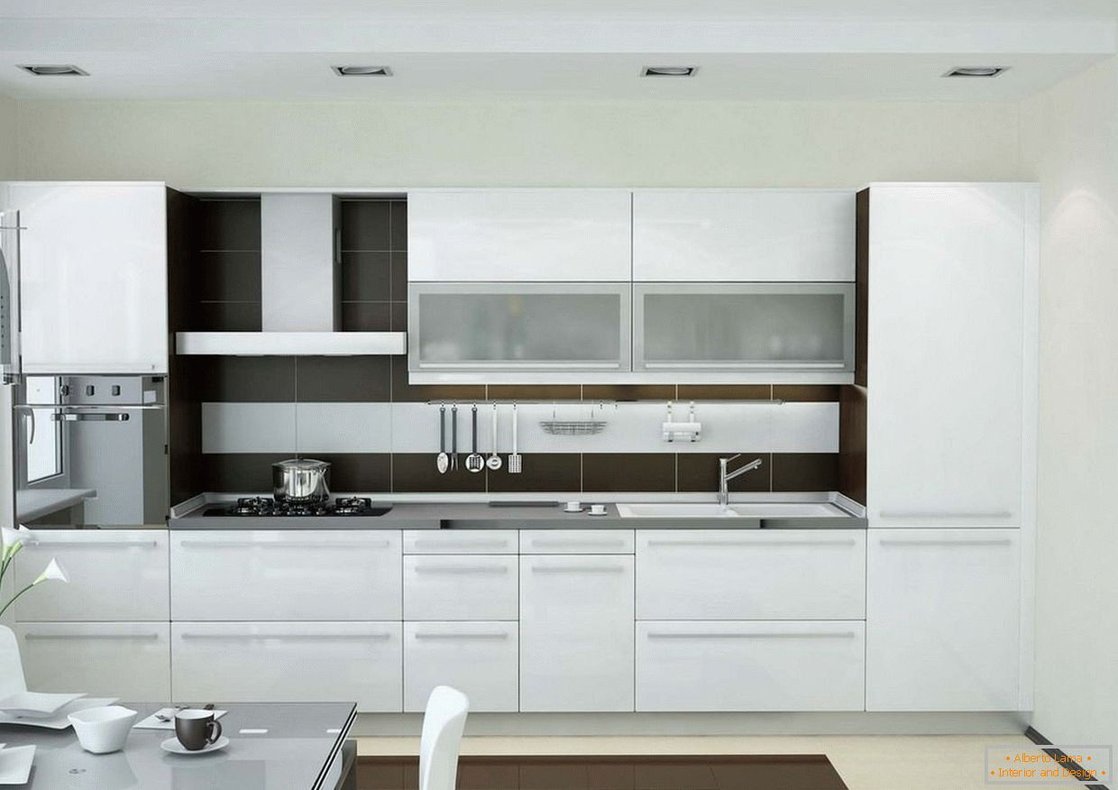Compact kitchen in white color