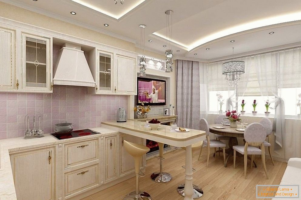 Kitchen with a bay window in classical style