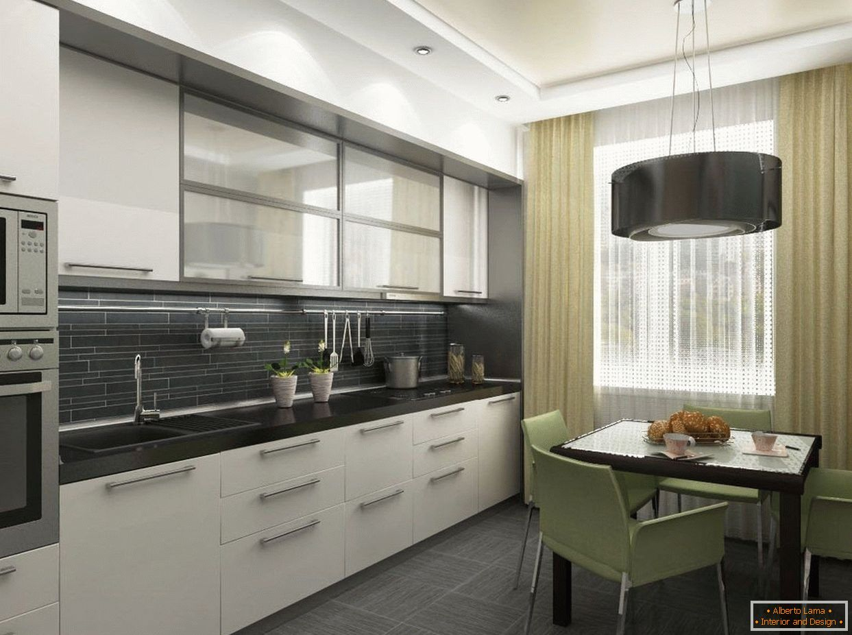Kitchen in white and black color
