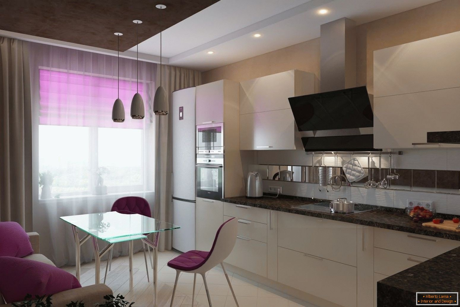 White kitchen with lilac elements of decor