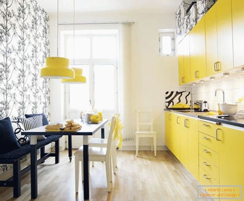 Kitchen in yellow color