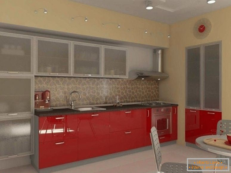 Kitchen with red wardrobes