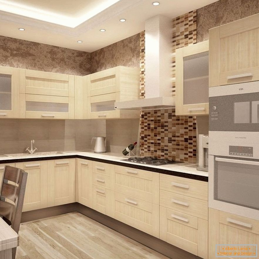 Kitchen design in brown color