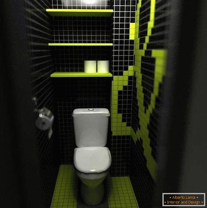 Dark color narrows the space of a small toilet