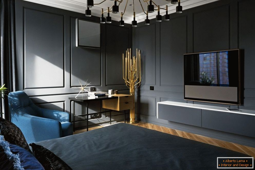 Décor in the bedroom in dark colors