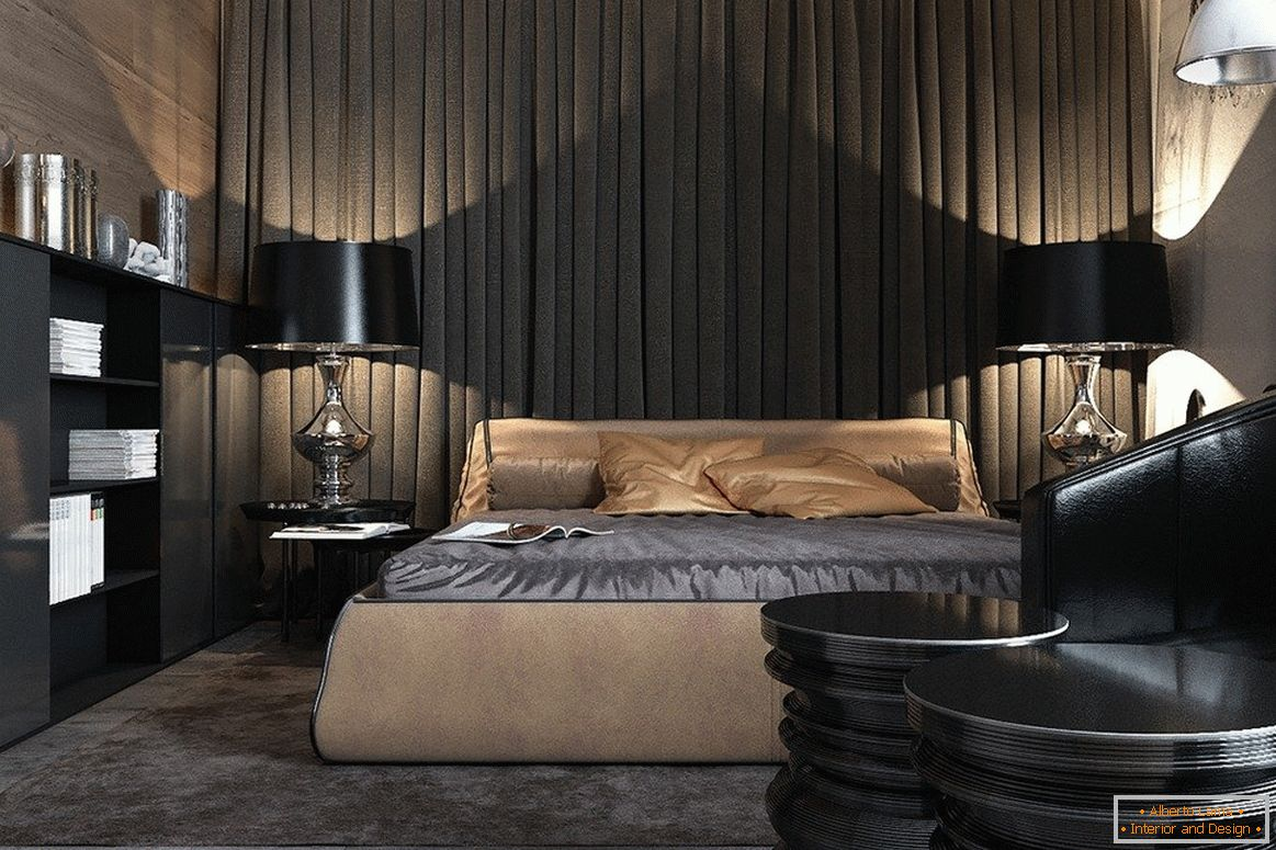 Furniture in the bedroom in dark colors