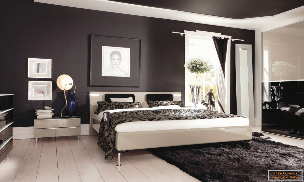 Bedroom design with dark ceiling