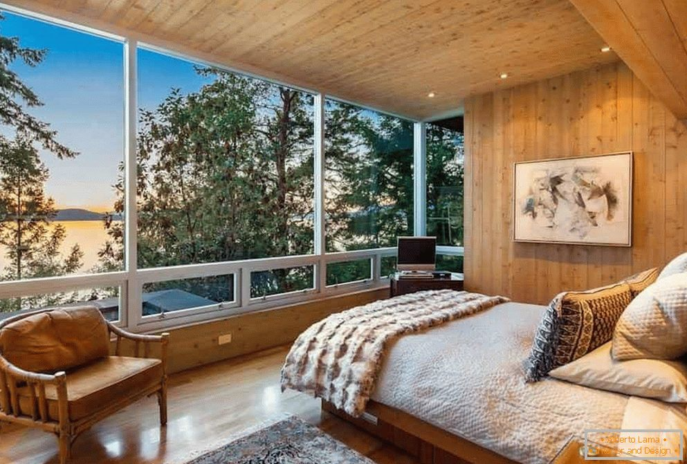 Bedroom in a wooden house
