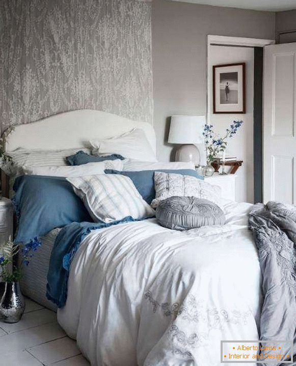 Shebbie chic bedroom with gray walls, white and blue decor