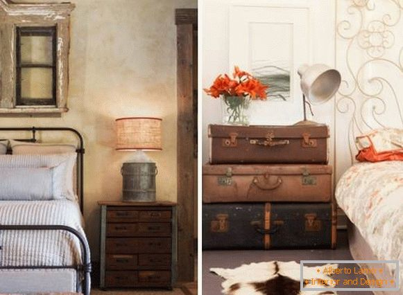 A bedroom in the style of a shebbie chic with old furniture items