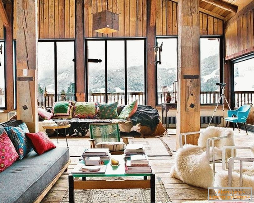 Boho style in the interior of a country house