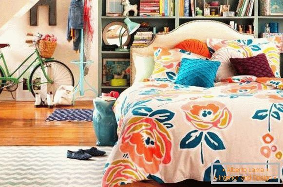 Bright bedroom of a girl in the style of a boho - photo