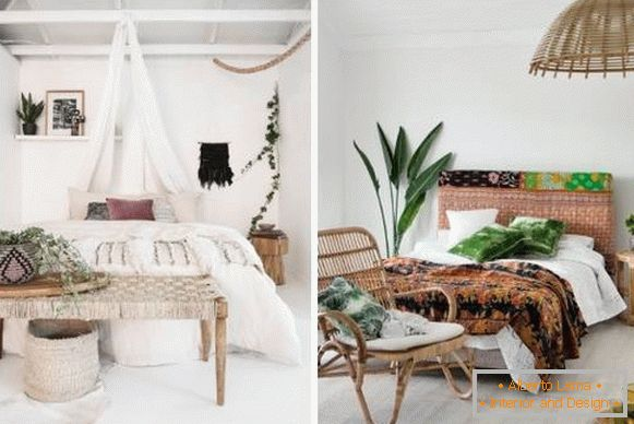 How to decorate a bedroom in Boho style - photo interior