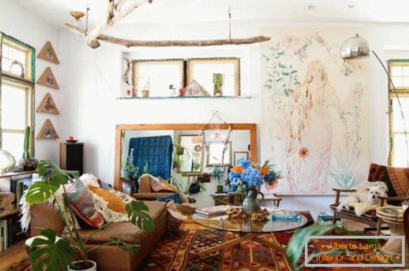 The design of the living room in the style of boho chic in the interior