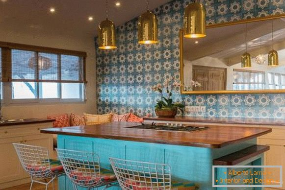 Wallpaper and decor in the style of a boho in the interior of the kitchen