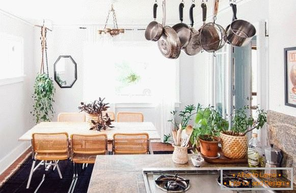 Dining area and kitchen in Boho style - 10 photo interiors