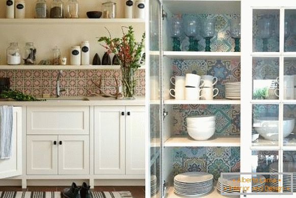 Style bohos chic in the interior of the kitchen with bright tiles