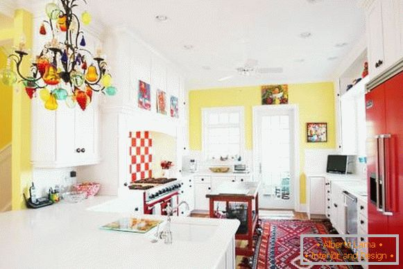 The yellow interior of the kitchen in the style of bokho