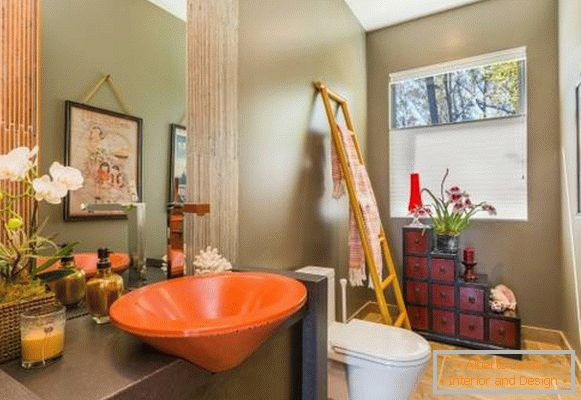 Bohos chic style in the interior - combined bathroom
