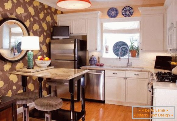 Style bohos chic in the interior of the kitchen with wallpaper