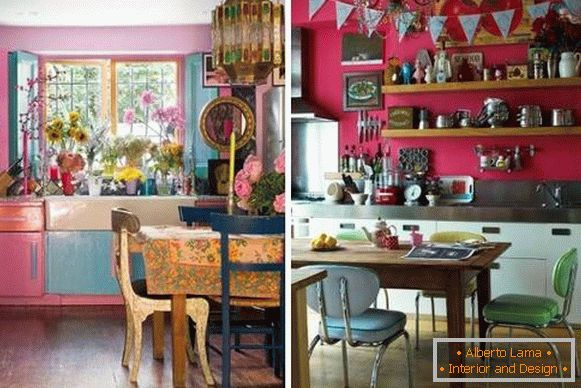 Dark pink kitchen in the style of boho - photo