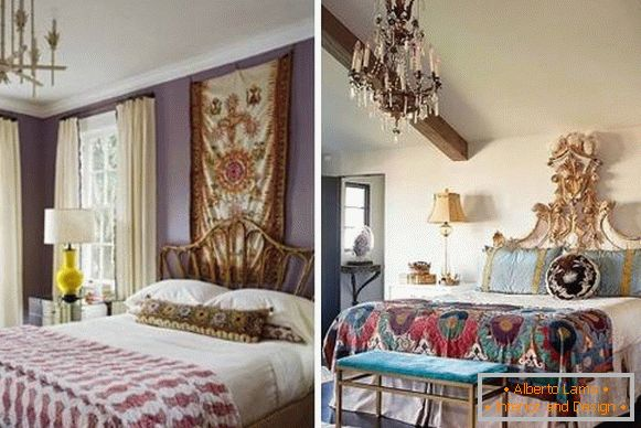 The design of the bedroom in the style of boho chic in the interior