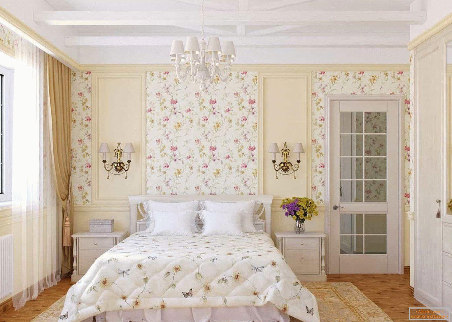 Светлая спальня с гардеробной
