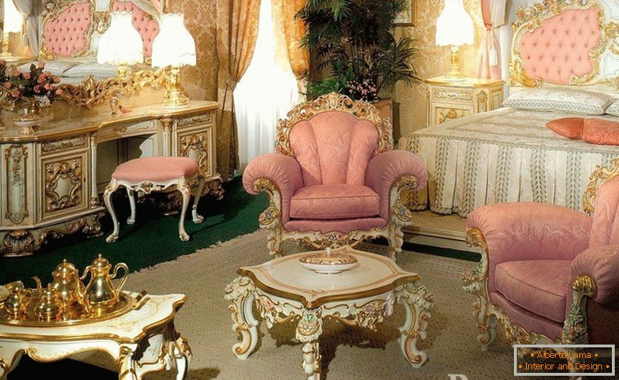 Luxurious antique furniture in the room
