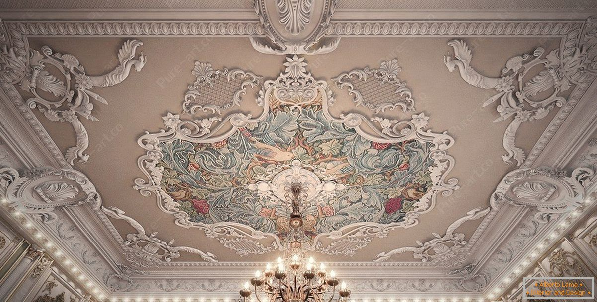 Ceiling with patterns and stucco