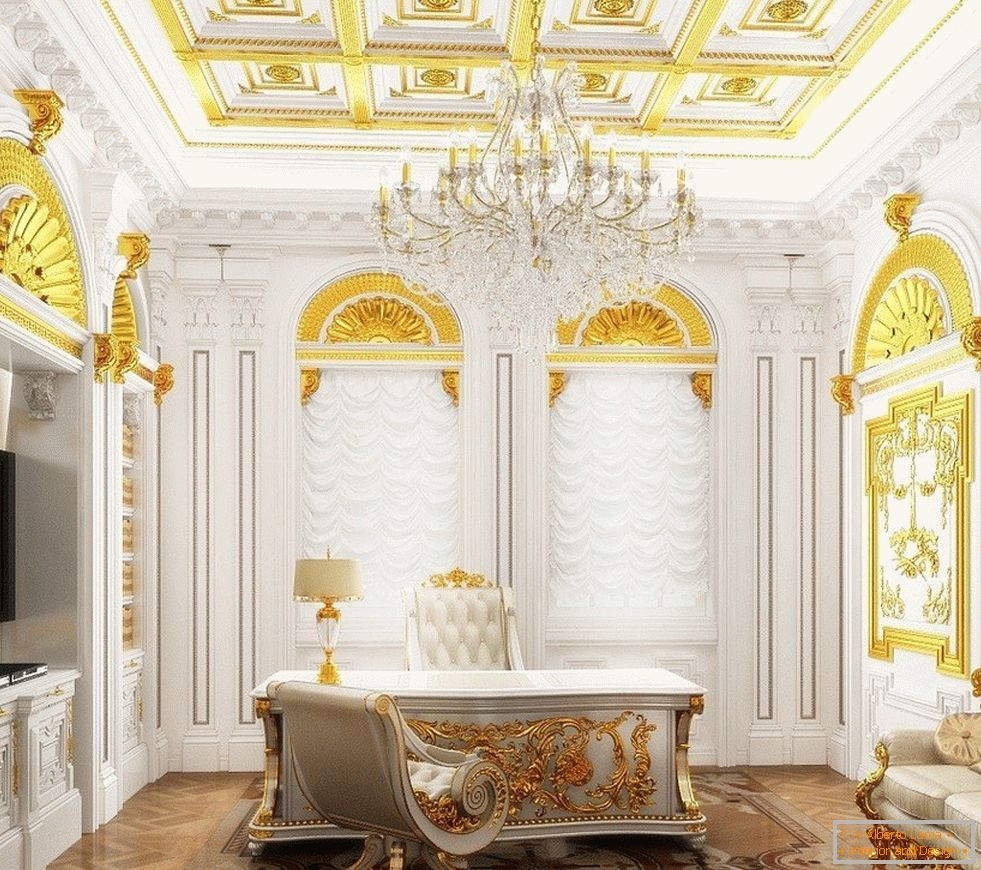 Cabinet with white interior and gold decor