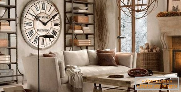 Interior items in the style of steampunk - lamps and watches on the wall