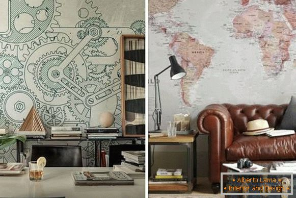 Steampunk wallpaper for walls in the interior