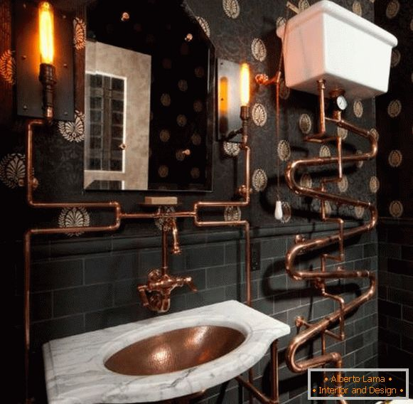 Steampunk-style bathroom with Victorian wall-paper