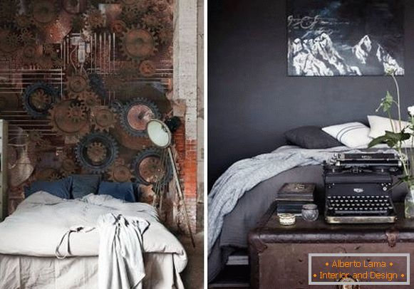 Bedroom interior in steampunk style - photo wallpapers