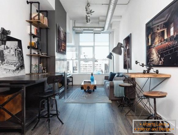 Design rooms in style steampunk, industrial and loft