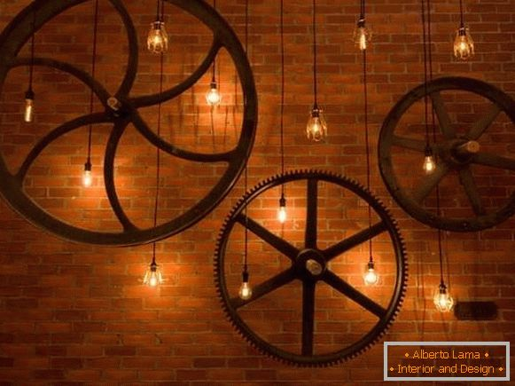 The wall decor and fixtures in the steampunk style