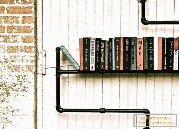 Steampunk style furniture - photo shelves from pipes