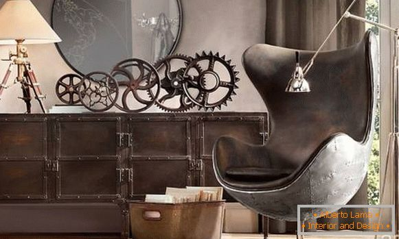 Decor and furniture in the style of steampunk - photo in the interior
