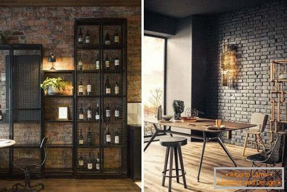 Design room in style steampunk with metal furniture