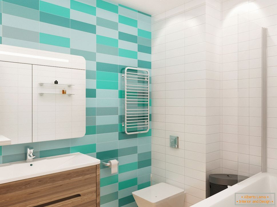 Turquoise accents in the interior of a white bathroom