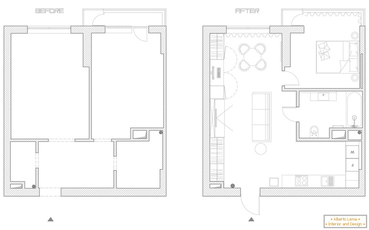 The layout of a small apartment