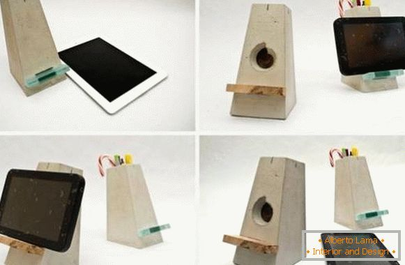 Concrete stand under the tablet with your own hands