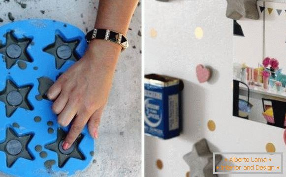 Crafts and accessories for home: concrete magnets