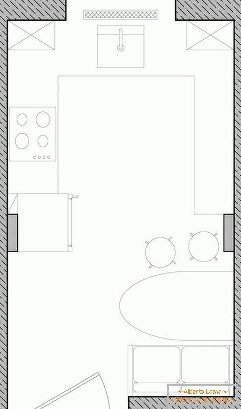 Layout of a small kitchen