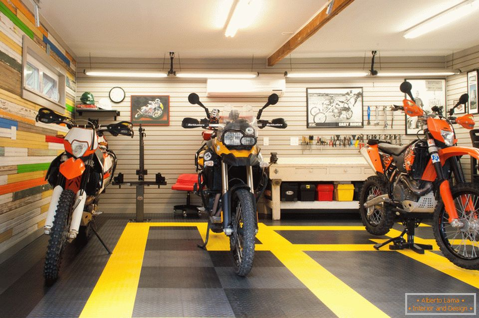 Motorcycles in the creative garage