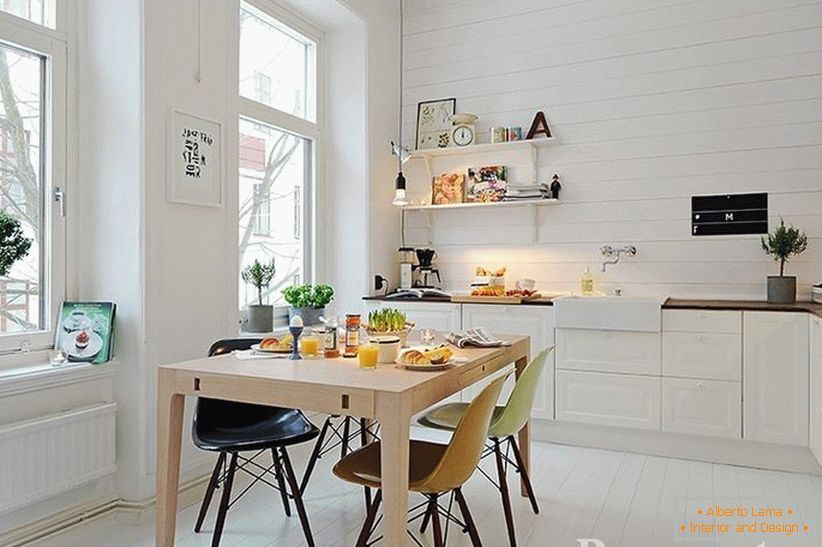 Kitchen with white interior