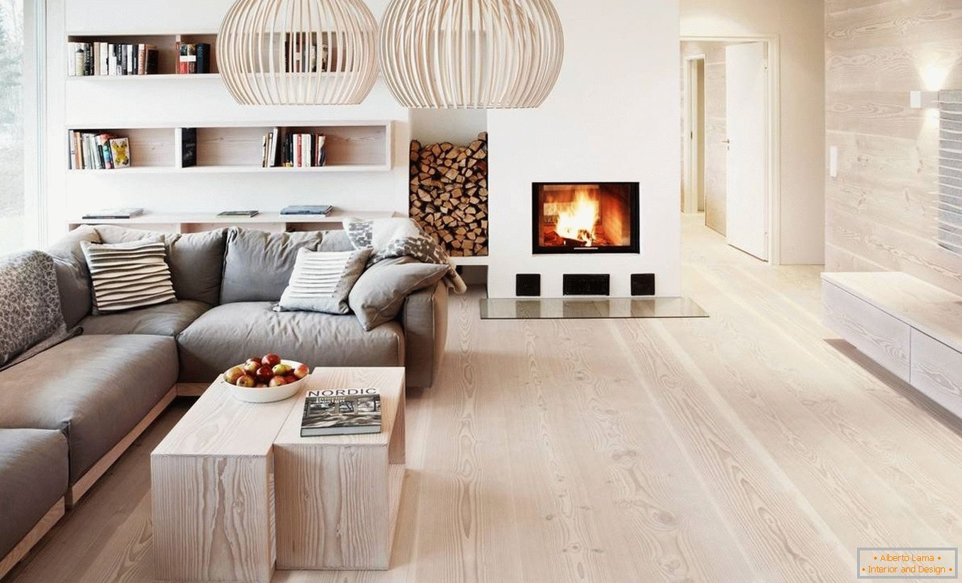 Fireplace with wood in the living room