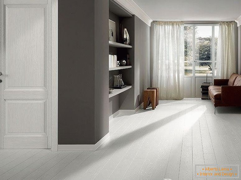 Room with gray walls and white floor