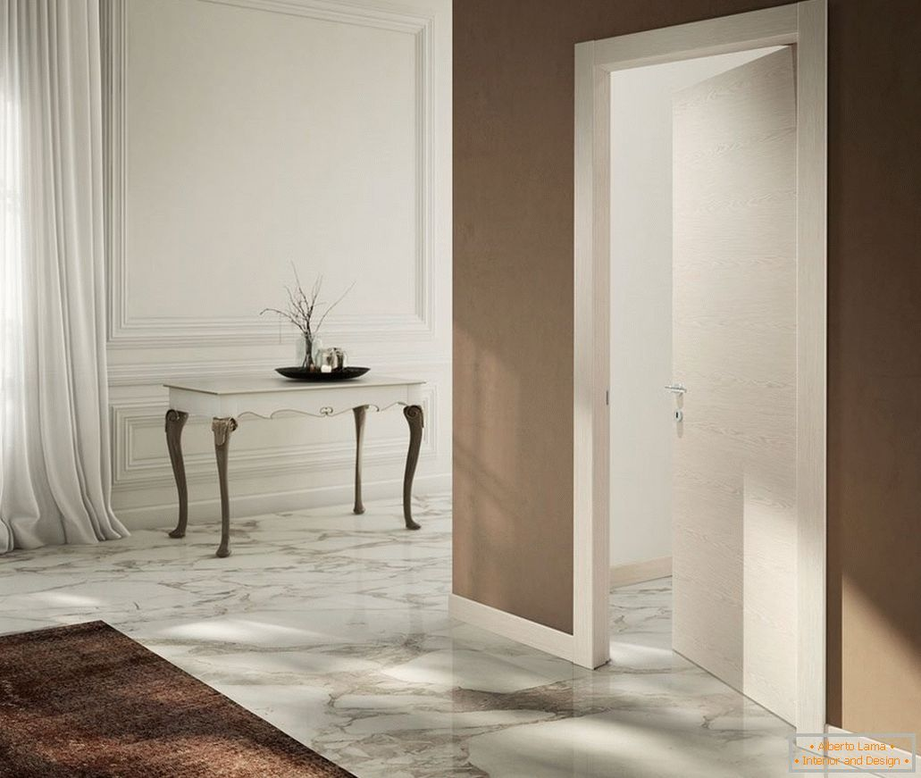 Marble floor in the hallway