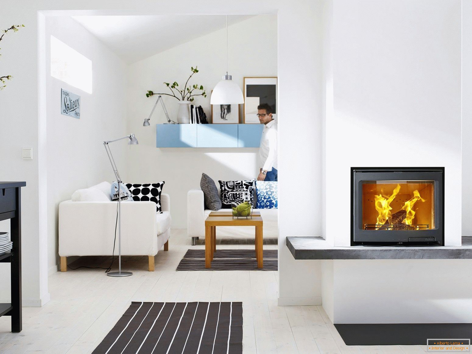 Fireplace in white interior